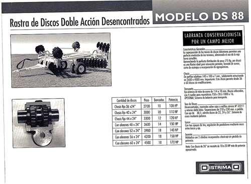 Rastra De Discos Desenc Ds-88. Distrimaq. De 36 A 60 Discos.