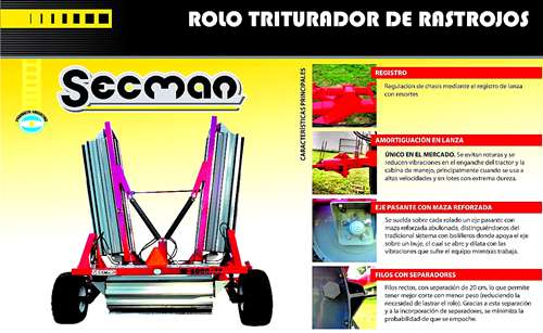 Rolo Triturador De Rastrojos Marca Secman Modelo M6000/75
